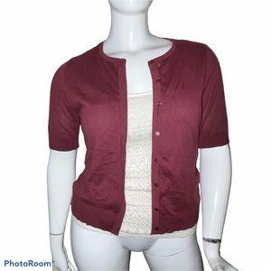Loft maroon shirt sleeve buttoned cardigan